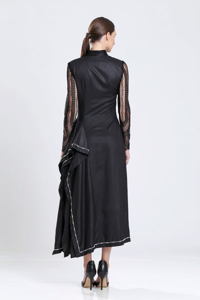 Sophie Statement Godet Dress with French Lace Sleeve