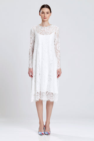 Frezeau White Lace Dress with Beaded Neckline