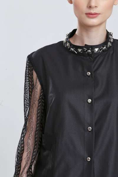 Cassini Loose Top with French Lace Sleeve