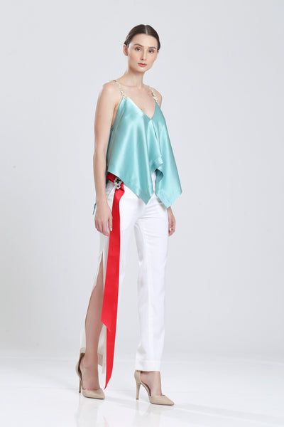 Eslagun Double Silk Satin Handkerchief Tank