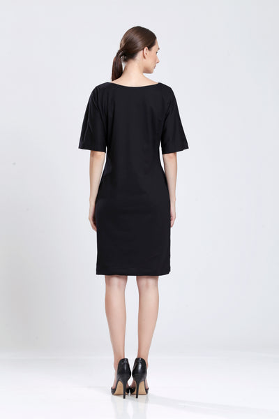 Antoine Pearl Cowl Neckline Dress