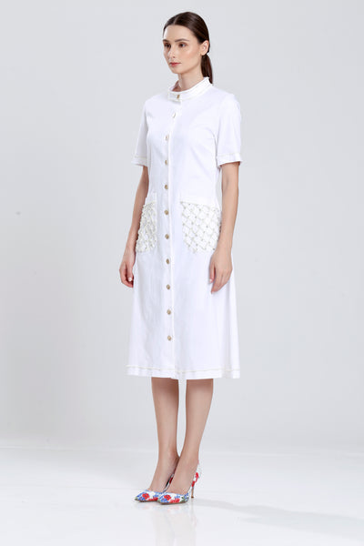 Day Dress with Metal Buttons