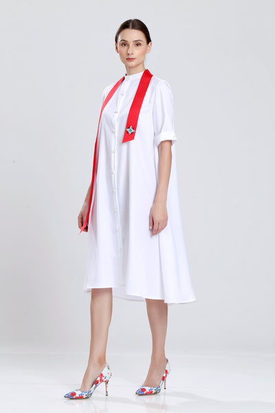 Chasles White Shirt Dress with Ribbon Sash