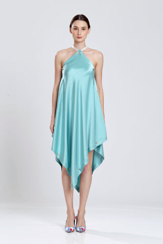 Oronce Fine Double Silk Satin Handkerchief Halter Dress