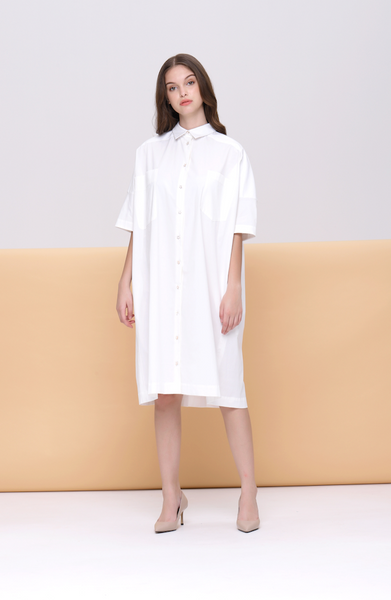 Anne Organic Poplin Oversized Shirt Dress