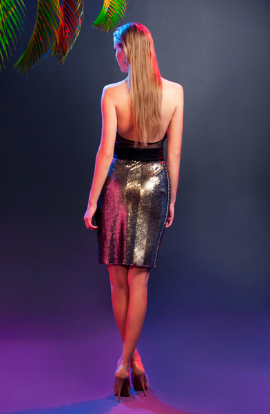 Snake Skin Sequined Skirt