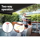Instahut Motorised 3x2.5m Folding Arm Awning - Grey