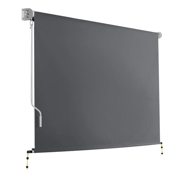Instahut 3m x 2.5m Retractable Roll Down Awning - Grey