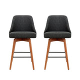 Artiss Set of 2 Wooden Fabric Bar Stools Square Footrest - Charcoal