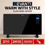 Devanti 2000W Portable Electric Panel Heater - Black Glass