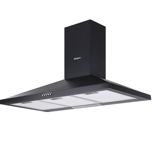 Devanti Range Hood Rangehood 90cm 900mm Kitchen Canopy LED Light Wall Mount Black