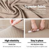 Artiss 2-piece Sofa Cover Elastic Stretch Couch Covers Protector 2 Steater Sand