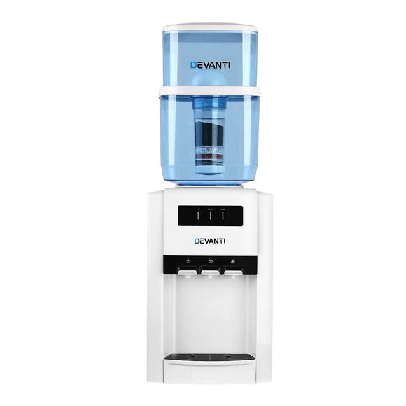 Devanti 22L Bench Top Water Cooler Dispenser Filter Purifier Hot Cold Room Temperature Three Taps
