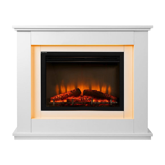 Devanti 2000W Electric Fireplace Mantle Portable Fire Log Wood Heater 3D Flame Effect White