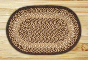 Chocolate / Natural C-017 Jute Braided Rug - OVAL