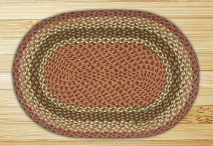 Olive/Burgundy/Gray C-024 Jute Braided Rug - Oval