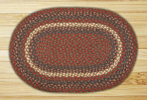 Burgundy/Gray C-040 Jute Braided Rug - Oval
