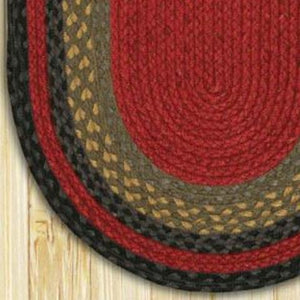 Burgundy / Olive / Charcoal C-238 Jute Braided Rug - Oval