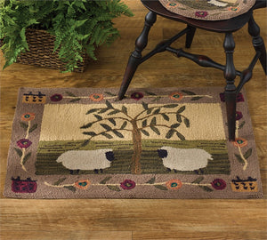 Willow & Sheep Hooked Rug 24x36