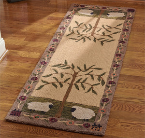 Willow & Sheep Hooked Rug Runner