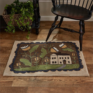 Whimsey Cottage Hooked Rug 24x36