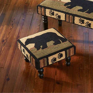 Adirondack Bear Hooked Stool | Country Furniture