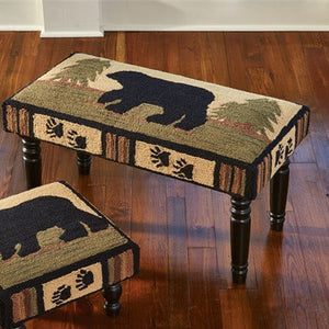 Adirondack Bear Hooked Bench | Country Rustic Furniture
