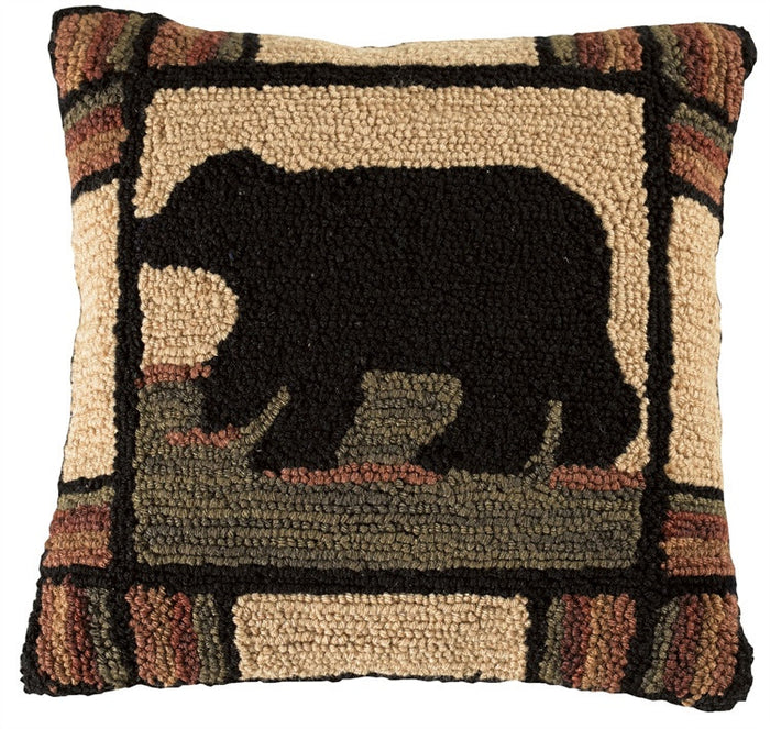 Adironack Black Bear Hooked Pillow