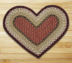 Burgundy/Mustard Heart Shaped Jute Rug C-019