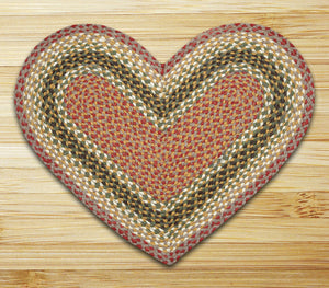 Olive/Burgundy/Gray Heart Shaped Jute Rug C-024