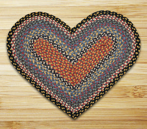 Heart Shaped Jute Braided Rug - Olive/Burgundy/Gray C-043