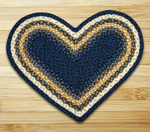 Light & Dark Blue/Mustard C-079 Heart Shaped Jute Rug