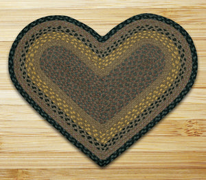 Brown/Black/Charcoal C-099 Heart Shaped Jute Rug