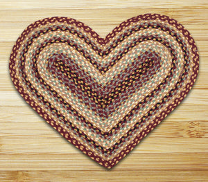 Burgundy/Gray/Cream C-357 Heart Shaped Jute Rug