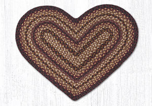 Black Cherry/Chocolate/Cream C-371 Heart Shaped Jute Braided Rug