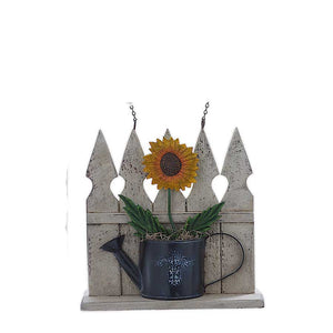 Picket Fence with Tin Sunflower Arrow Replacement Sign by K&K Interiors