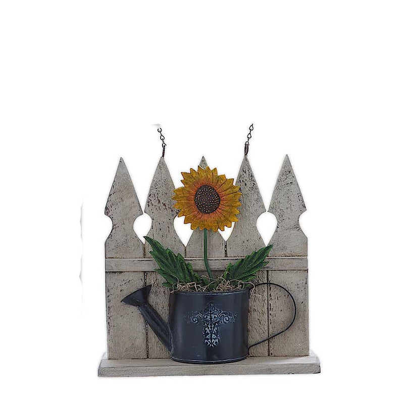 Picket Fence With Tin Sunflower Arrow Replacement Sign By