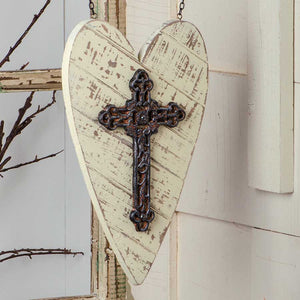 Heart with Metal Cross Arrow Replacement Sign by K&K Interiors