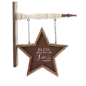 """Bless"" Framed Brown Star Arrow Replacement Sign by K&K Interiors"