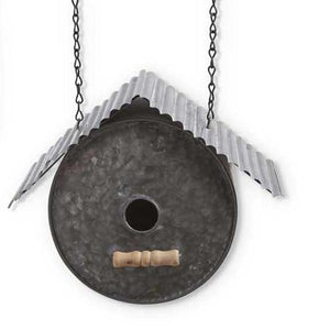 Tin Round Birdhouse with Corrugated Roof Arrow Replacement Sign