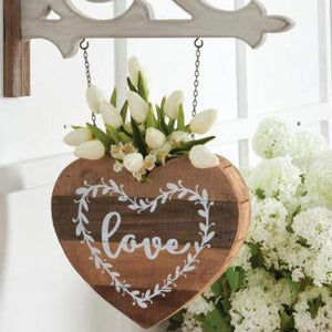 Barnwood Heart with Planter Top Arrow Replacement Sign