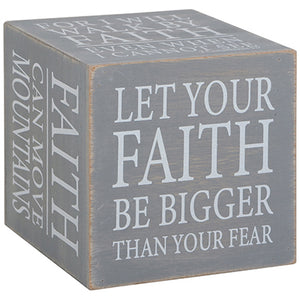 """Faith"" Heartfelt Cube Sign"