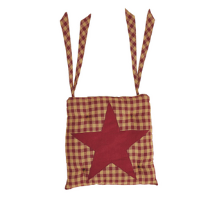 Burgundy Star Check Chair Pad by VHC Brands - DL Country Barn