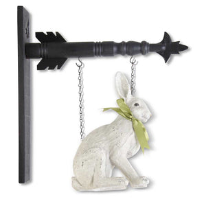 Sitting White Rabbit w/Green Bow Arrow Replacement Sign
