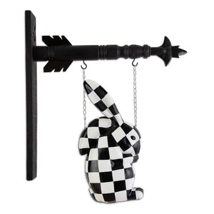 Black & White Harlequin Resin Rabbit Arrow Replacement Sign