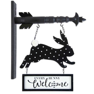 Black & White Easter Bunny WELCOME Arrow Replacement Sign