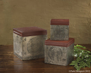 Punched Tin Box Set | Primitive Metal Decorative Boxes
