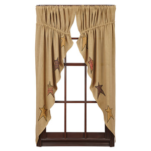 Stratton Burlap Applique Star Prairie Curtain
