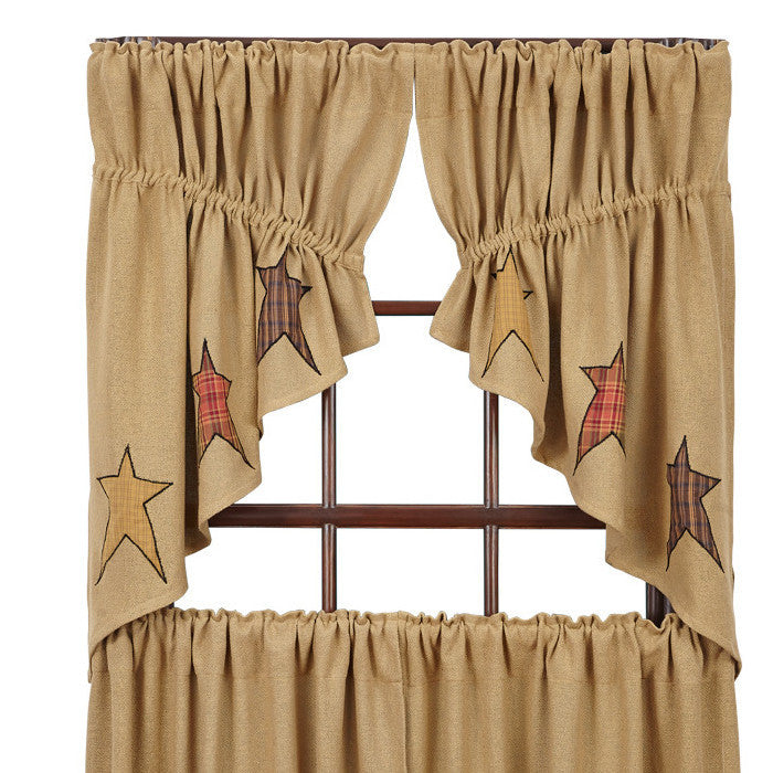 Stratton Burlap Applique Star Prairie Swag