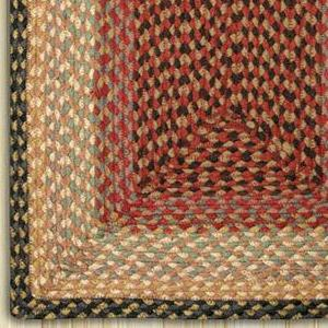 Burgundy/Gray/Cream C-057 Jute Braided Rug